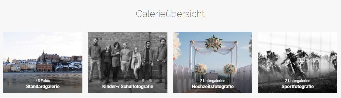 Übersicht Fotogalerien im Onlineshop