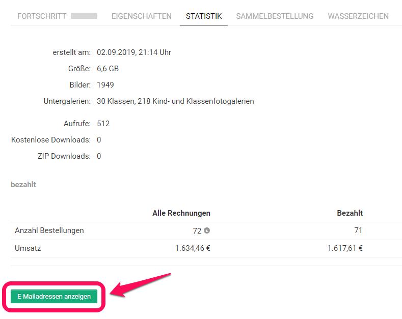 Statistik Fotoverkauf in Schul- und Kitaprojekt