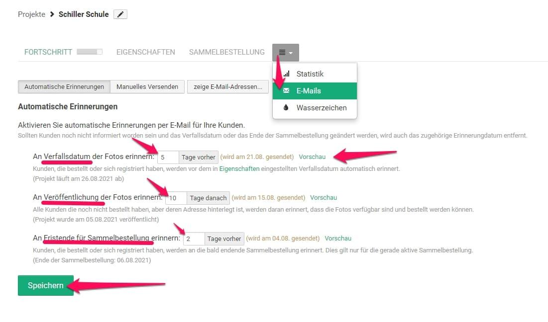 Automatischer Mailversand aus Onlineshop bei Pictrs