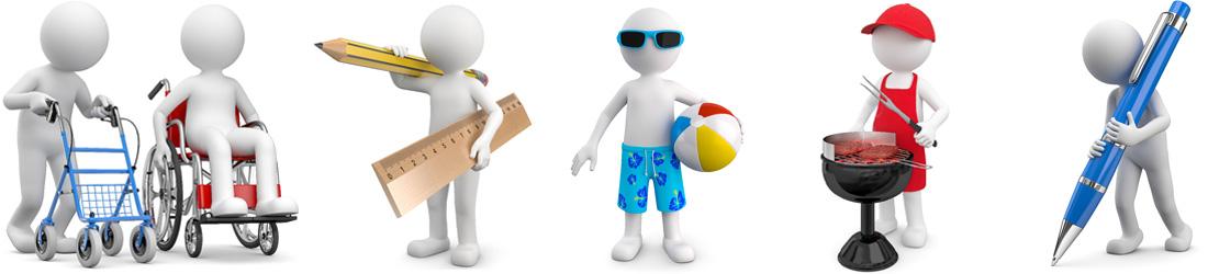 weiße Fotomek 3D Männchen