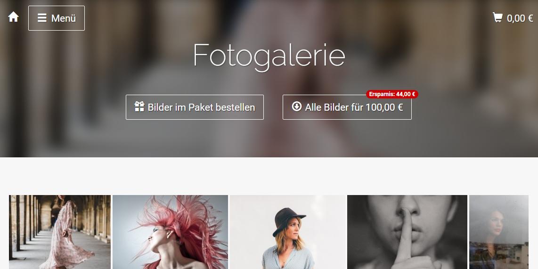 Beispiel Startseite Onlineshop für Fotografen