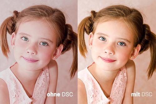 Foto mit und ohne DSC-Farbkorrektur