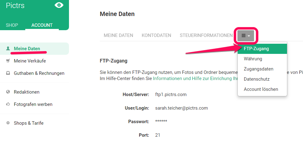FTP-Zugang im Pictrs-Shop einrichten