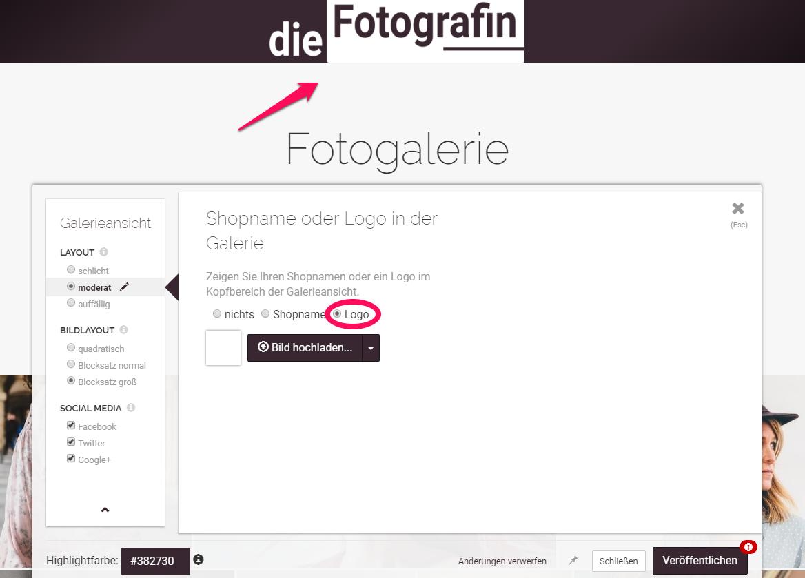 Design für Fotogalerien festlegen