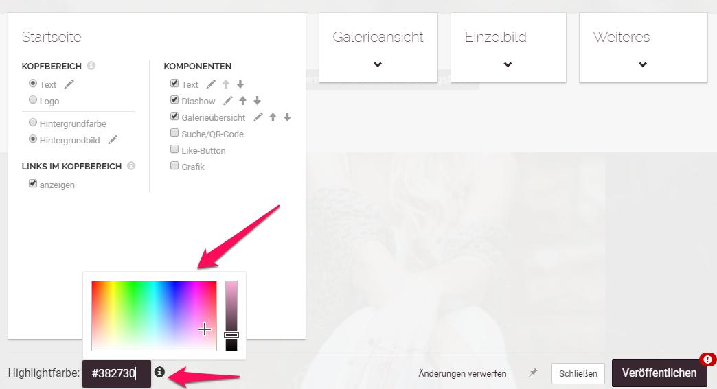 Highlightfarbe im Shopdesigner auswählen