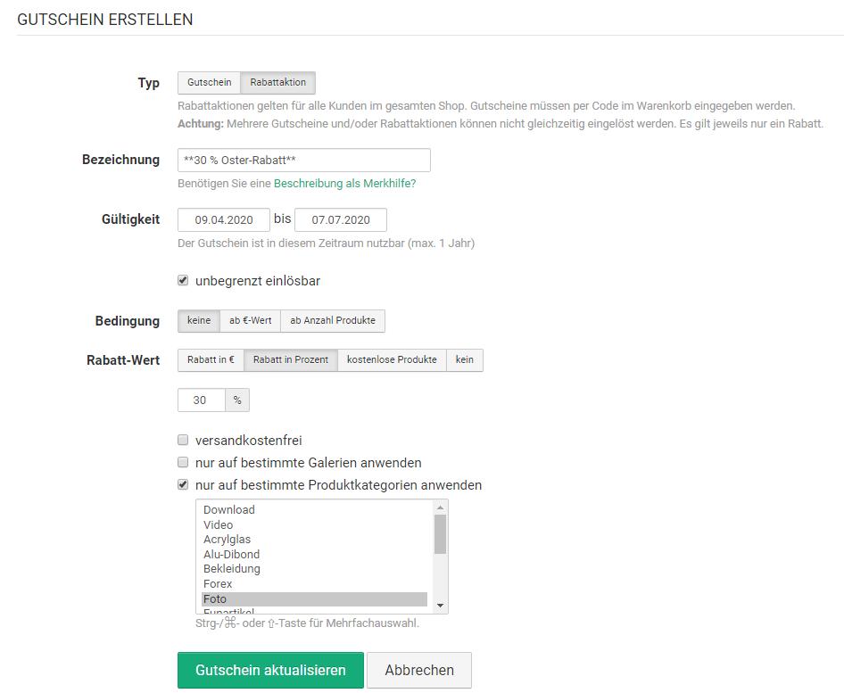 Rabattaktion und Gutschein im eigenen Foto-Onlineshop erstellen