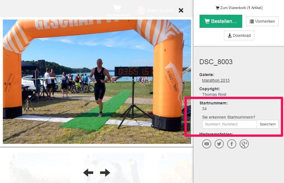 Startnummern auf Fotos manuell taggen