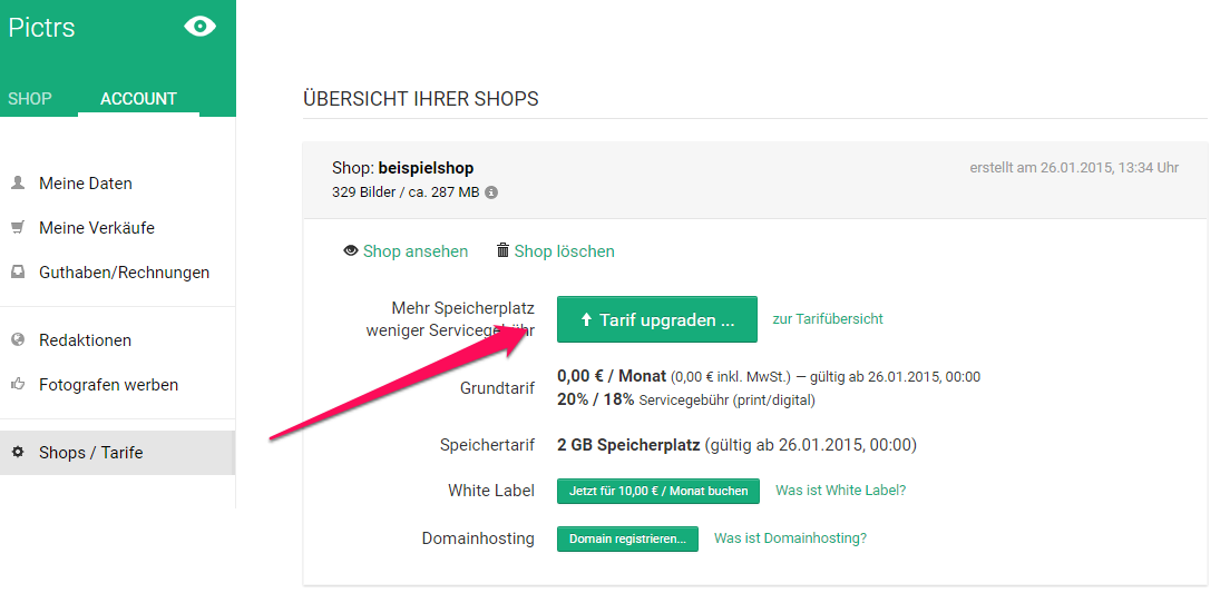 Tarif in Pictrs-Shop selbst wechseln