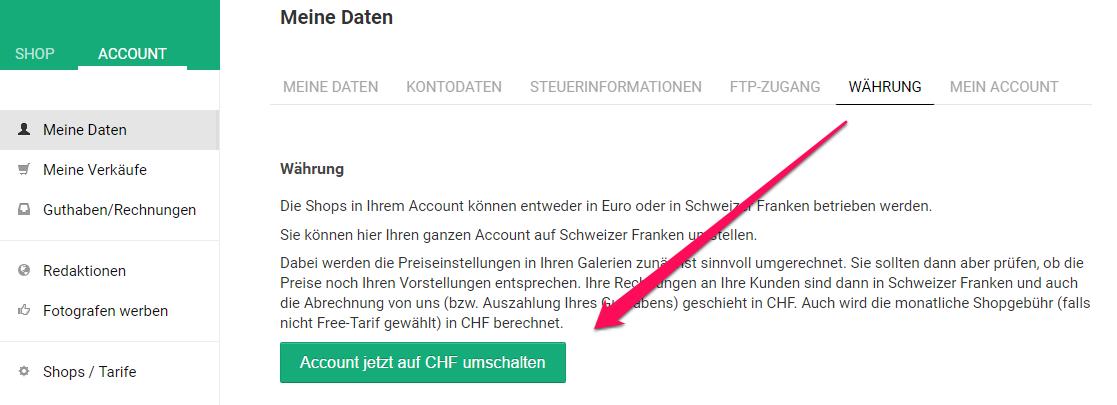 Währung in Foto-Onlineshop in CHF ändern